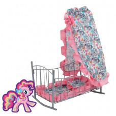 Кроватка-качалка My Little Pony металлическая с балдахином