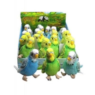 Игрушка «Попугайчик» LEOSСO, мягконабивная плюшевая, синий/зеленый , 12см