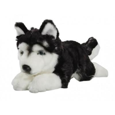 Мягкая игрушка «Хаски» Leosco лежащая, черно-белая, 26 см, 4028667185676