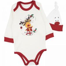Комплект для новорожденных: боди с длинным рукавом и чепчик белый с красным НОВЫЙ ГОД интерлок Юлла 737/444и/н ап