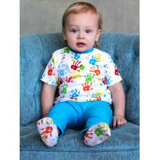 """Голубые штанишки """"Ладошки"""" для новорождённого"""