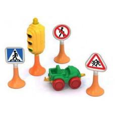 Набор Дорожные знаки №2 светофор, 3 знака, машинка Нордик