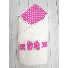Конверт-одеяло на выписку Горошинки Лето белый велюр + сердечки Марусяка