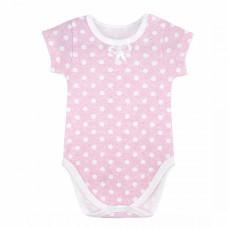 Боди с коротким рукавом для новорожденных голубой, розовый, серый в горошек интерлок Юлла 676и