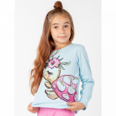 Джемпер кулирка для девочки голубой с черепахой Юлла 498/2к