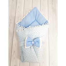 Конверт-одеяло на выписку Горошинки голубой велюр+голубое пшено