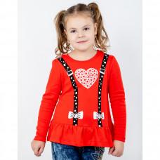 Джемпер красный с сердечком для девочки, интерлок Юлла 932200202