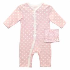 Комбинезон для новорожденной девочки розовый в горошек интерлок Юлла 674/675и
