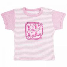 Футболка для новорожденной девочки розовая в полоску с принтом Baby Boom рибана Юлла 668р ап