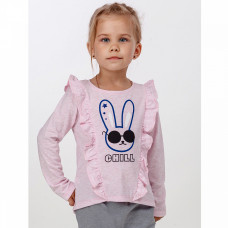 Джемпер розовый с зайцем для девочки, кулирка 898/2к