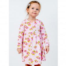 Платье розовое с розами, интерлок Юлла 1137200202