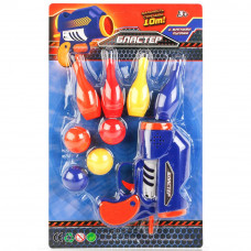 """Бластер """"играем вместе"""" с кеглями и шариками на картонке, в ассортименте"""