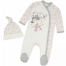 Комплект для новорожденных: светлый комбинезон с чепчиком Королевство интерлок Юлла 533и/444и ап