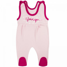 Ползунки на лямках для новорожденной нежно-розовые девочки Love интерлок Юлла 011и/п ап