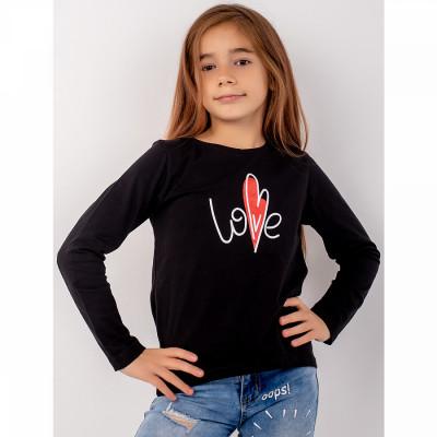 Джемпер черный Love кулирка для девочки Юлла 498100303