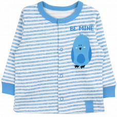 Кофточка на кнопках голубая для новорожденных в полоску с птичкой Be Mine интерлок Юлла 926и/п ап