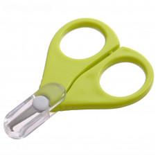 Ножницы детские безопасные, маникюрные, с чехлом, от 0 мес., цвет зелёный