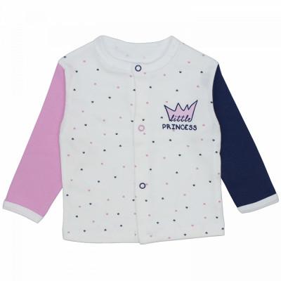 Кофточка на кнопках для новорожденной девочки сине-розовая Prince and Princess интерлок Юлла 556и/пр ап
