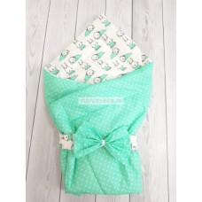 """Конверт-одеяло на выписку """"Малыш"""" """"Мятные Зайки"""""""
