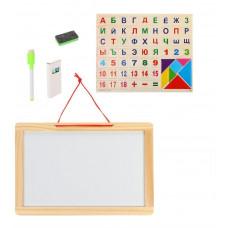 Доска деревянная (магнитная+меловая), магниты Алфавит+цифры+паззлы, маркер, мелки, стиратель в компл.