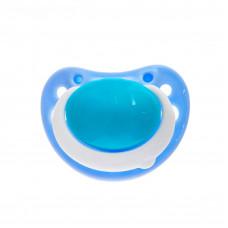 Пустышка силиконовая ортодонтическая, от 3 месяцев, цвет голубой