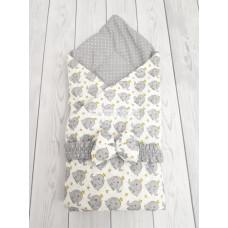 """Конверт-одеяло на выписку """"Малыш"""", модель 9 Слоники серые"""
