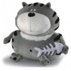 Мягкая игрушка «Кот Бонус» Fancy, серый в черную полоску с рыбкой, 55 см, KBO2