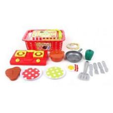 Набор посуды в корзинке с продуктами, 15 предметов  в ассортименте 639386