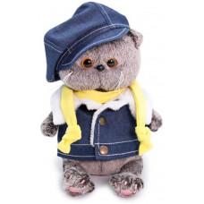 Мягкая игрушка BudiBasa «Кот Басик BABY в джинсовом жилете» с жёлтым шарфиком, 20 см, BB-051