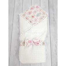 Конверт-одеяло на выписку Горошинки Лето белый велюр + пироженки Марусяка