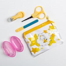 Набор маникюрный детский «Наше Чудо», 4 предмета: ножнички, книпсер, пилочка, щётка