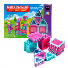 Конструктор магнитный 40 деталей Magic Magnetic Pink Наша игрушка