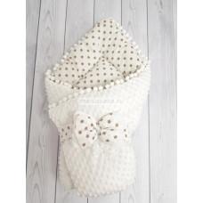 Конверт-одеяло на выписку демисезонный Горошинки белый и коричневые звездочки велюр мод 7 Марусяка
