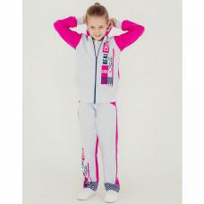 Костюм спортивный для девочки, серо-розовый, футер Юлла 321фд