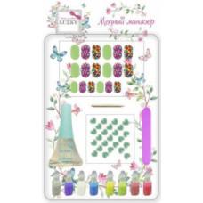 Набор для дизайна ногтей c прозрачным лаком 5,5 мл,с сухими блестками для ногтей 1 г.