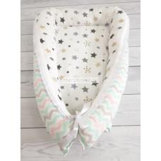 """Кокон гнездышко для новорожденного """"Цветные волны"""" мод.25 КН-23"""