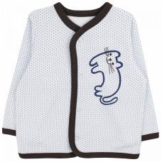 Кофточка на кнопках для новорожденных нежно-голубая в крапинку Усатик футер Юлла 325ф/у ап