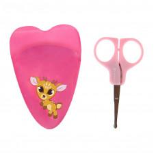 Ножницы детские маникюрные «Оленёнок», с чехлом, от 0 мес., цвет розовый