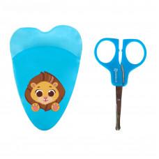 Ножницы детские маникюрные «Лева», с чехлом, от 0 мес., цвет голубой