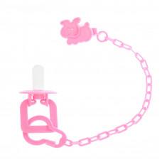 Пустышка силиконовая классическая с держателем и колпачком, от 0 до 6 мес., цвет розовый
