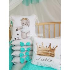 """Набор в кроватку из подушечек """"Маленький Принц"""", цвет мята мод.59"""