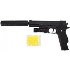 Пистолет механический, в комплекте: фонарь, глушитель, пули, эл.пит.тестовые AG10*3 шт 66528