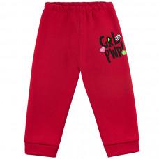 Брюки красные футер с начесом для девочек Юлла 200300401