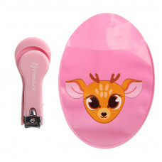 Маникюрные щипчики детские с чехлом «Олененок», цвет розовый