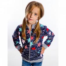 Куртка темно-синяя с принтом для девочки, футер 1092фд