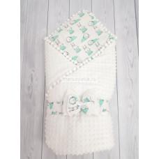 Конверт-одеяло на выписку Горошинки Лето белый велюр + зайчики Марусяка