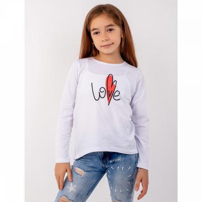 Джемпер белый Love кулирка для девочки Юлла 498100301