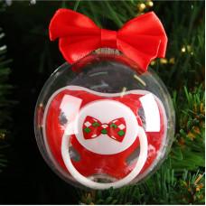 Пустышка силиконовая ортодонтическая «Джентльмен», от 0 месяцев, подарочная упаковка, в новогоднем шаре