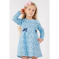 Платье голубое в горошек интерлок Юлла 1112200102