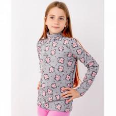 Джемпер серый с розовыми цветами кашкорсе для девочки Юлла 63400303
